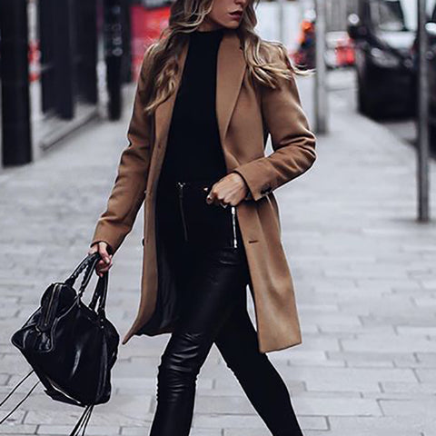 Women's simple solid color coat