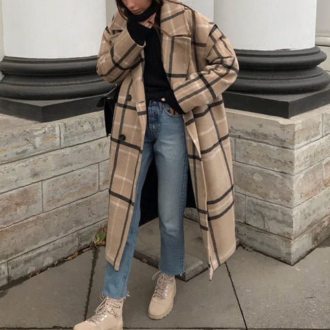 Women's fashion loose long-sleeved plaid woolen coat