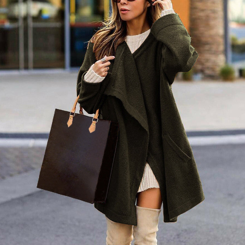 Casual women's lapel solid color coat