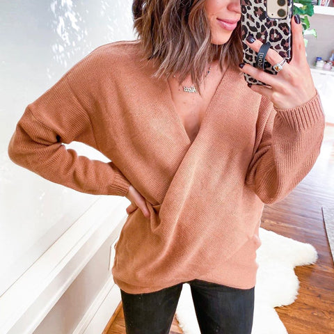 Fashion V-collar solid color sweater