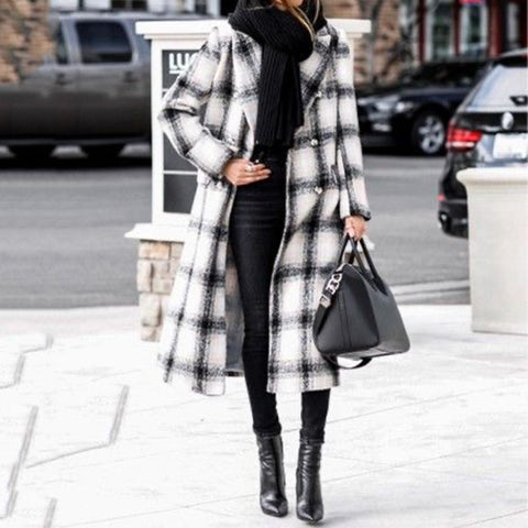 Black and white plaid long woolen coat coat