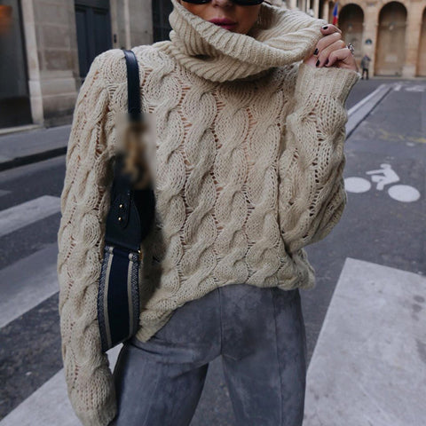 Casual turtleneck solid knit sweater