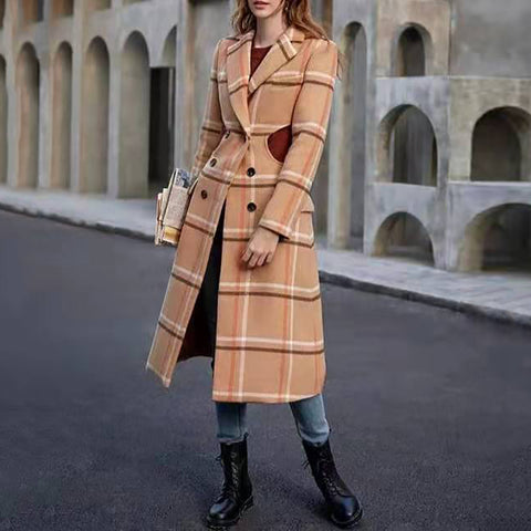 Fashion Lapel Plaid Waist Openwork Double Breasted Coat