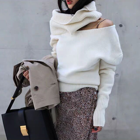 Women's Fashion Shoulder Sleeve High Collar White Sweater