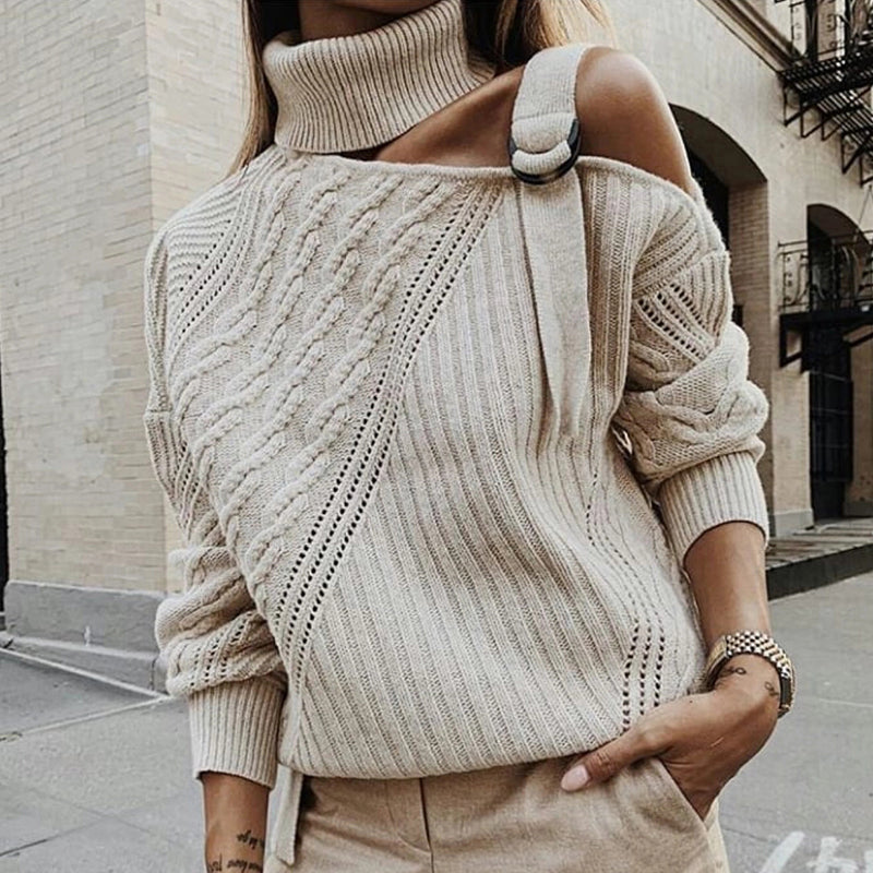 Casual Single Shoulder Collar Pure Color Sweater