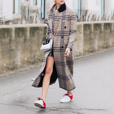 Fashion Leisure Long-Sleeved Plaid Overcoat