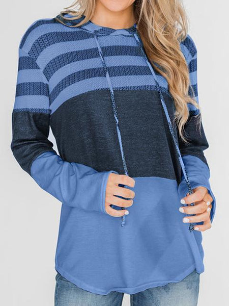striped-color-block-drawstring-casual-hoodie