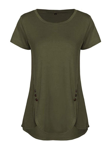Button Decor Short Sleeve Solid Tunic - seebee
