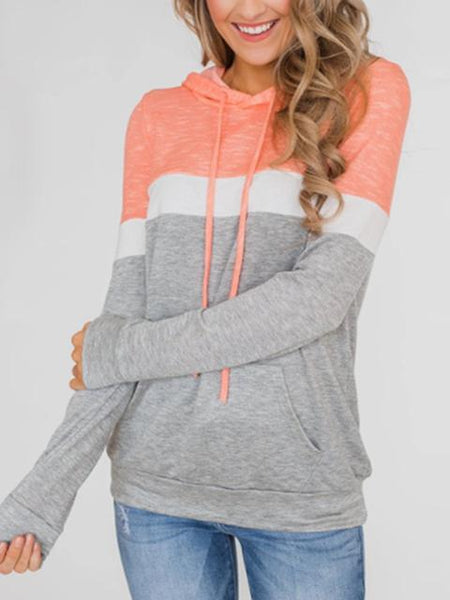 Color Block Hooded Sweatshirt with Front Pockets