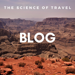 The image shows a photograph of the Grand Canyon (credits: Daniela Dägele) and it links to the Science of Travel Blog