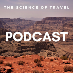 On the image you can see the Grand Canyon as photographed by Daniela Dägele and links to the Science of Travel Podcast