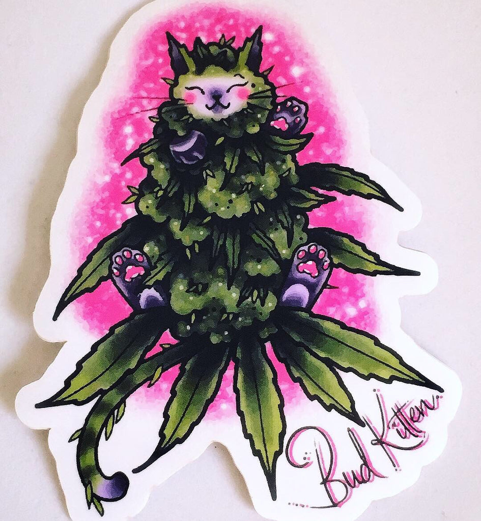 Pink Glitter Bud Kitten Sticker - Bud Kitten Jewelry