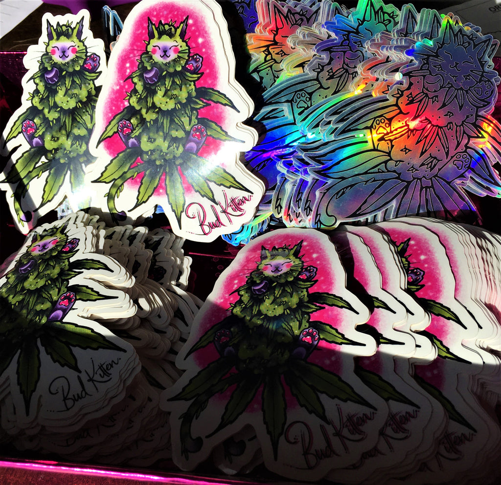 Holographic Bud Kitten Sticker - Bud Kitten Jewelry