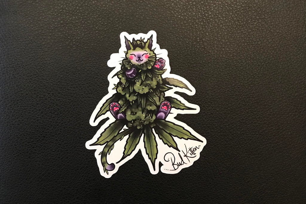 OG Green Bud Kitten Sticker - Bud Kitten Jewelry