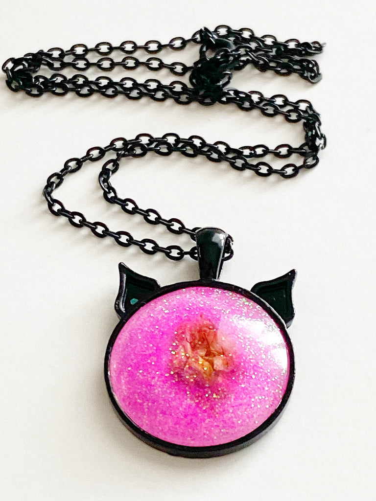 Pink Baby Bud Kitten Necklace