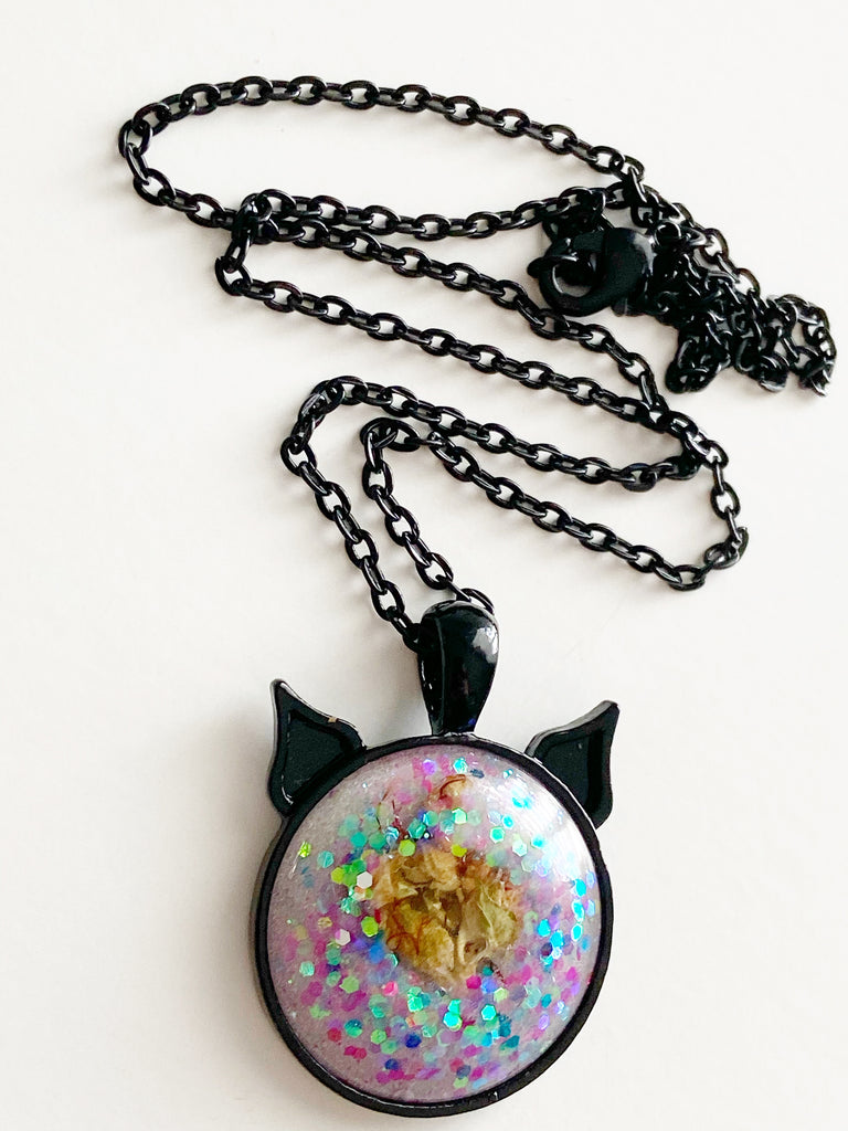Cotton Candy Bud Kitten Necklace