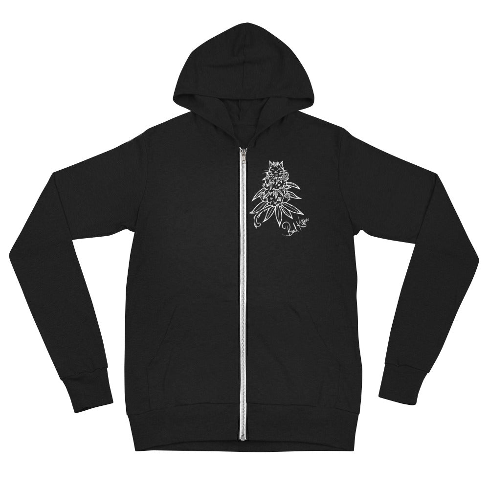 OG Bud Kitten Zip Hoodie - Front Design - Bud Kitten Jewelry