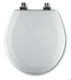 Bemis 544BR-346 BISCUIT Round Toilet Seat w/Brass Hinges - wholesalewaterheater