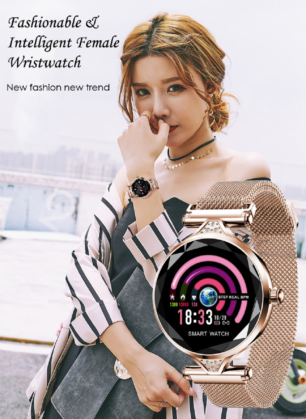 1-H1 smart watch women heart rate blood pressure fitness pedometer female physiological cycle waterproof smartwatch reloj Bracelet