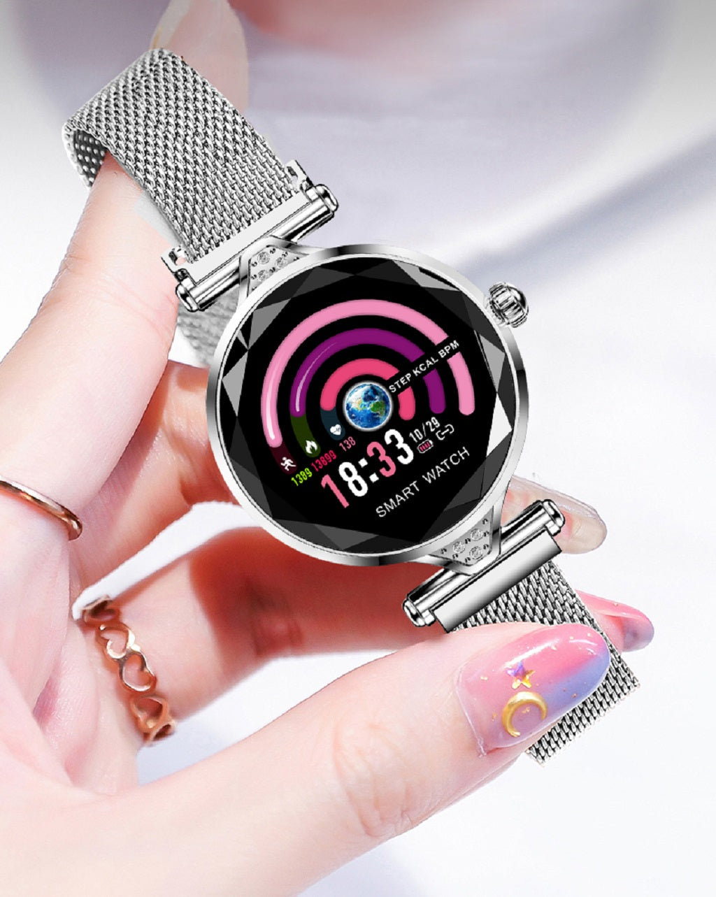 17-H1 smart watch heart rate Women smartwatch fitness Bracelet pedometer female lady stainless steel reloj gift