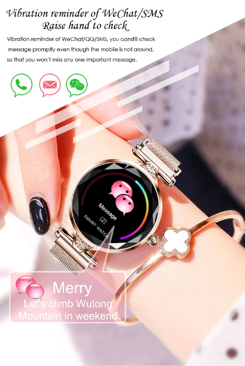 6-Women Smart Watch Fashion Ladies Watches Female Heart Rate Monitor Blood Pressure Fitness Activity Tracker H2 H1 Smartwatch