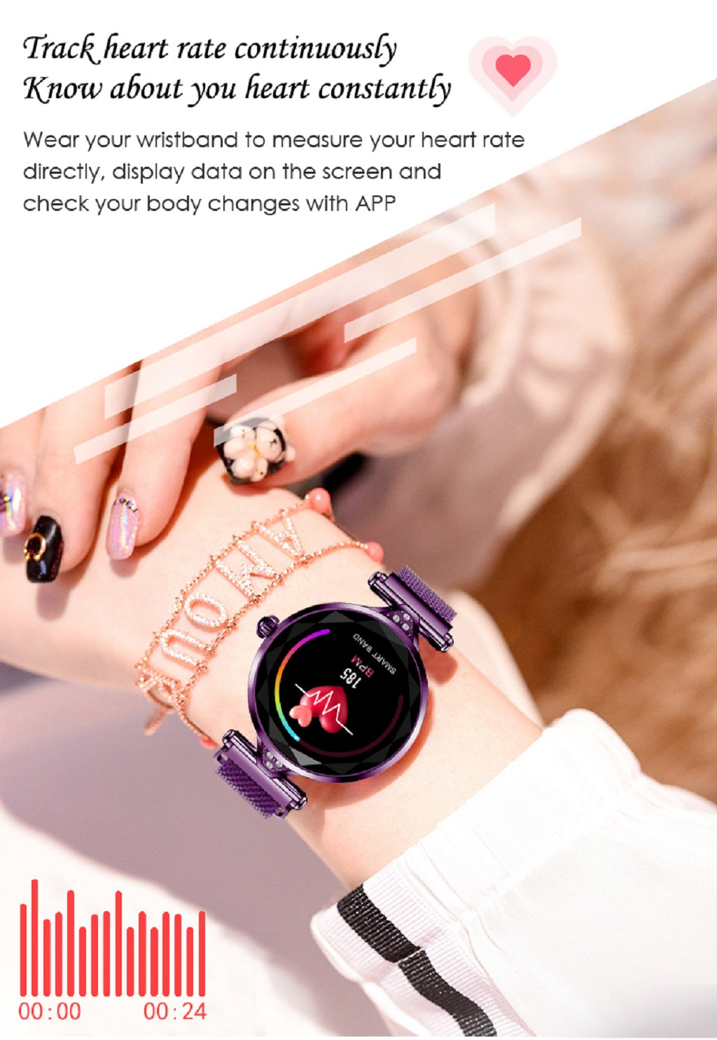 8-Women Fashion Smart Watch Blood Pressure Heart Rate Monitor Fitness Tracker Bracelet Smartwatch Diamond Flower Color Screen