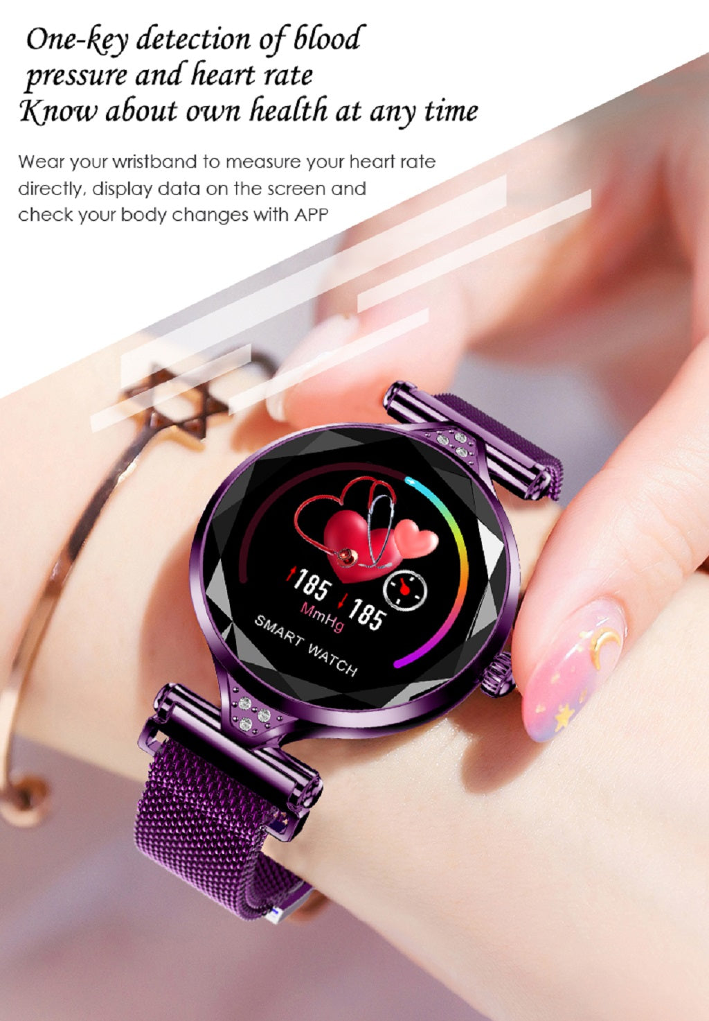 9-H1 Women Fashion Smart Watch Blood Pressure Heart Rate Monitor Fitness Tracker Bracelet Smartwatch Diamond Flower Color Screen