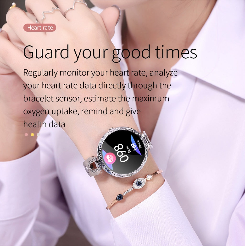 Ladies smart bracelet AK15 heart rate blood pressure female physiological monitoring glass for Huawei xiao mi phone smart watch_08