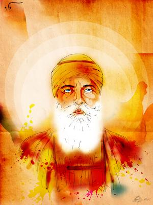 Guru Nanak Dev Ji Blue Eyes | Inkquisitive Art