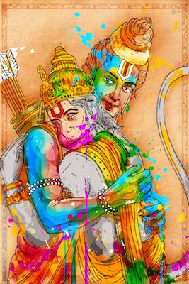 Hanuman and Rama | Inkquisitive Art