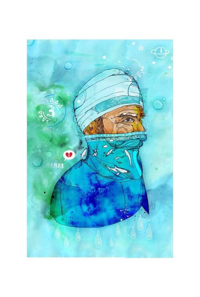Nanak and the sea creatures| Inkquisitive Art