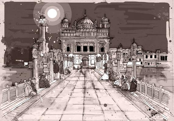 Pink Delight - Sepia (Golden Temple) | Inkquisitive Art