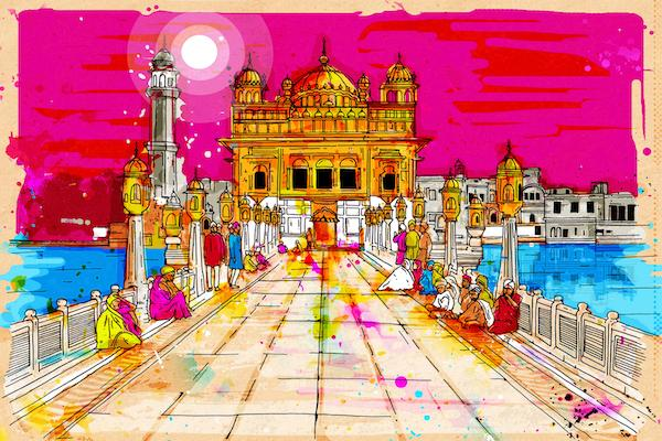 Pink Delight (Golden Temple) | Inkquisitive Art