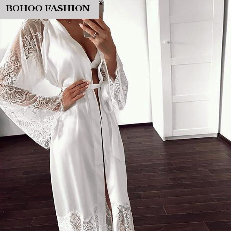 Babe Chiffon Long Sleeve Female Luxurious Lingerie