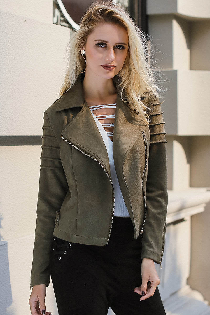 The Heart Of Fashion Suede Leather Short Jacket