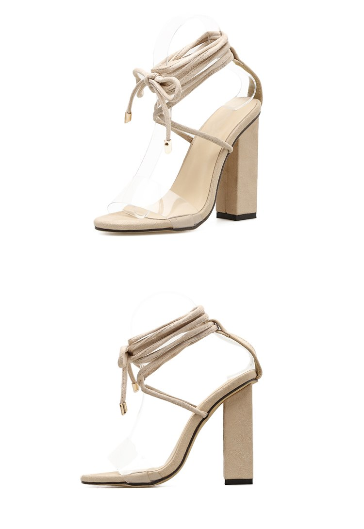 Simple Combination Heeled Sandals