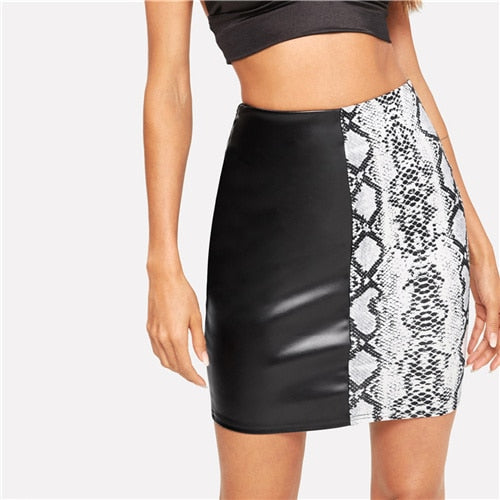 Two Sides Snake Skin Skirt