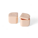 Miniware Grow Bento in Chrome with 2 silipods in Peach