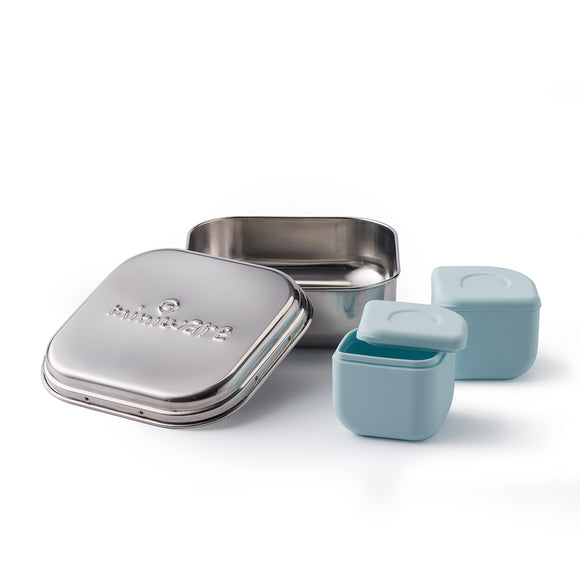 Miniware Grow Bento in Chrome with 2 silipods in Aqua