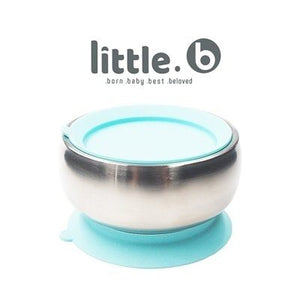 Little.b Double-layer 316 Stainless Steel Suction Bowl - Blue