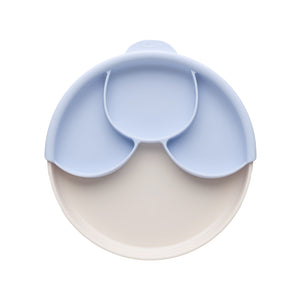 Miniware Healthy Meal Set - PLA Smart Divider Suction Plate in Vanilla + Silicone Divider in Lavender