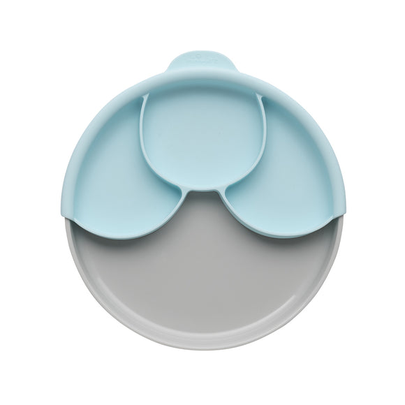 Miniware Healthy Meal Set - PLA Smart Divider Suction Plate in Grey + Silicone Divider in Aqua