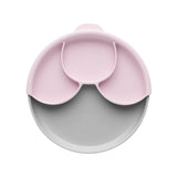 Miniware Healthy Meal Set - PLA Smart Divider Suction Plate in Grey + Silicone Divider in Cotton Candy