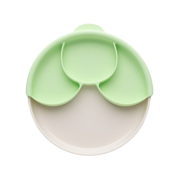 Miniware Healthy Meal Set - PLA Smart Divider Suction Plate in Vanilla + Silicone Divider in Keylime