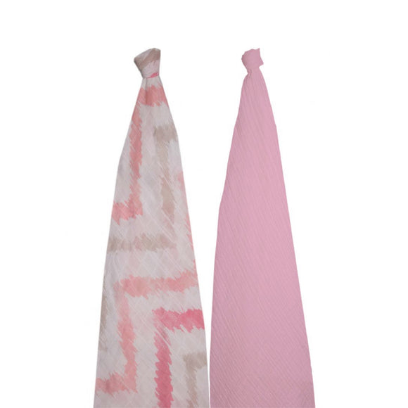 Momeasy Bamboo Swaddling Blanket ( 2 Pack ) - 100x120cm - Pink Chevron