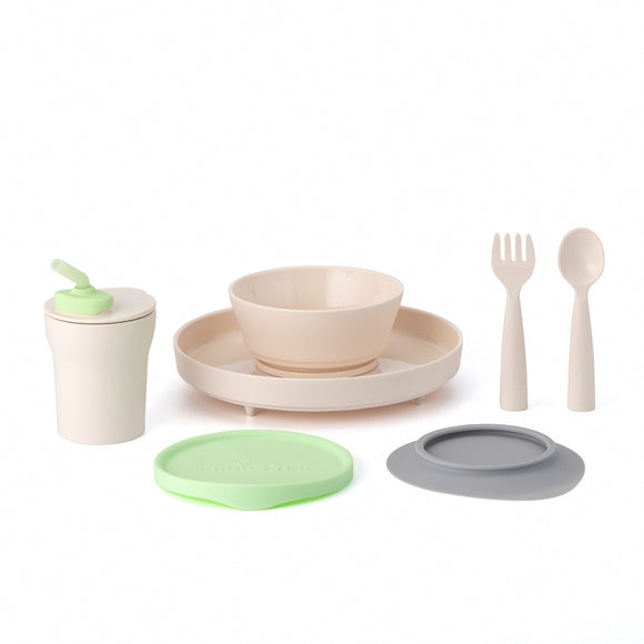 Miniware Little Foodie - PLA Suction Bowl + Plate + Cutlery Set + Silicone Cover in Key Lime + Sippy Cup Set