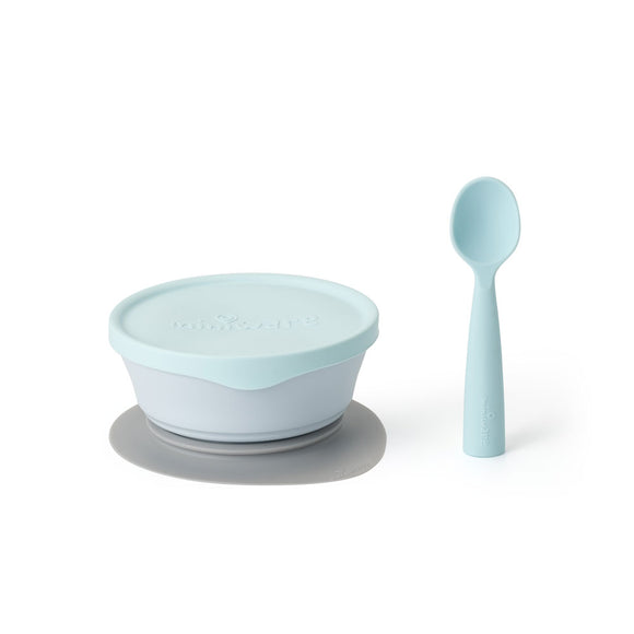 Miniware First Bite Set - PLA Cereal Suction Bowl + Silicone Spoon and Cover in Aqua