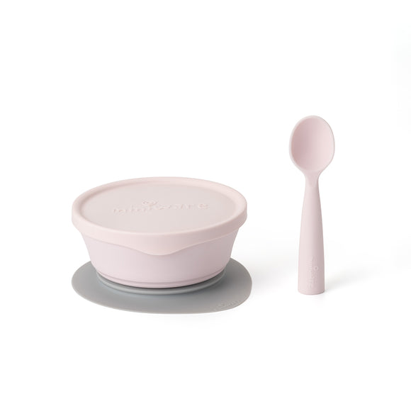 Miniware First Bite Set - PLA Cereal Suction Bowl + Silicone Spoon and Cover in Cotton Candy