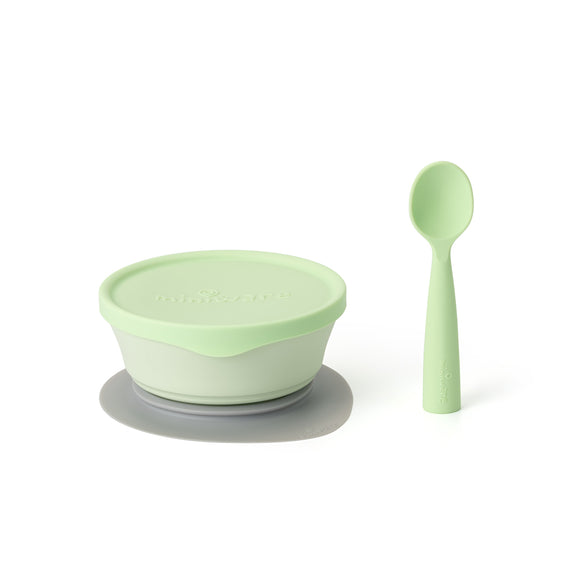 Miniware First Bite Set - PLA Cereal Suction Bowl + Silicone Spoon and Cover in Key Lime