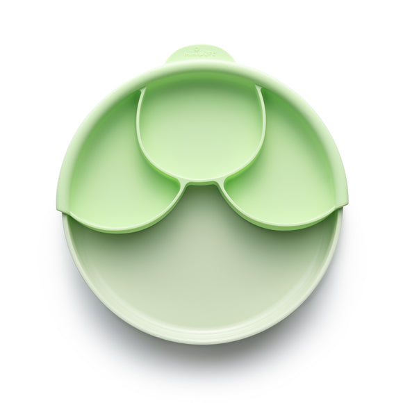 Miniware Healthy Meal Set - PLA Smart Divider Suction Plate + Silicone Divider in Key Lime